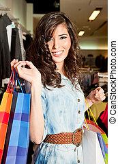 weibliche , einkaufstüten