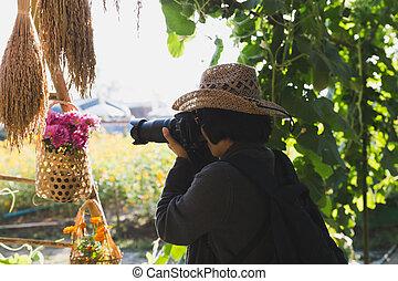 weibliche , fotograf, aufnahme nehmend, von, rosafarbene blume