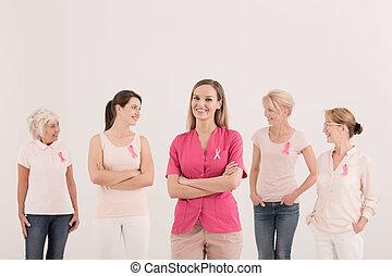 weibliche , freiwilligenarbeit, teilnehmen