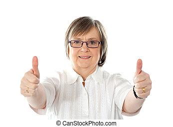weibliche , gesturing, doppelgänger, daumen hoch