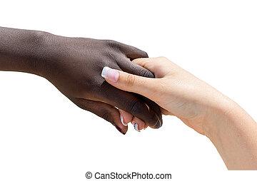 weibliche , hand., hand, schwarz, besitz, weißes