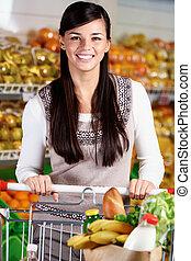 weibliche , in, supermarkt