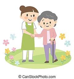 weibliche , krückstock, ältere frau, assistieren, junger, caregiver