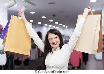 weibliche , kunde, mit, einkaufstüten