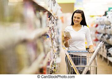 weibliche , kunde, shoppen, in, baumarkt