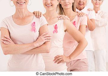 weibliche , leute, mit, rosa, bänder