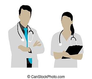 weibliche , männlicher doktor, silhouetten