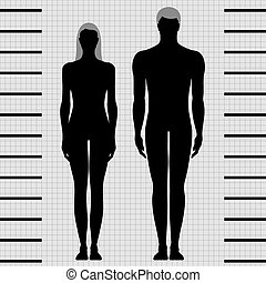 weibliche , mann, schablonen, koerper