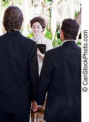 weibliche , minister, heiratet, fröhliches