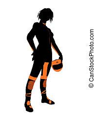 weibliche , motorrad- mitfahrer, kunst, abbildung,...