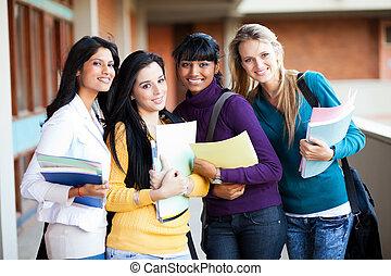 weibliche , multirassisch, hochschulstudenten, porträt