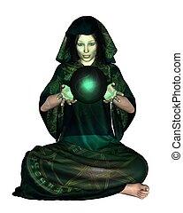 weibliche , mystiker, mit, kristall ball