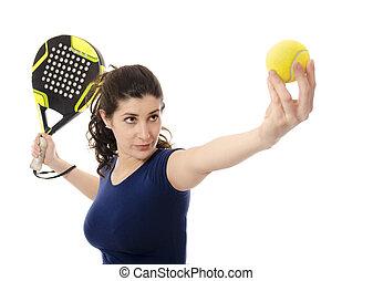 weibliche , paddel, tennis.