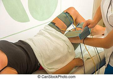 weibliche , patient, annahme, elektro, threrapy,...