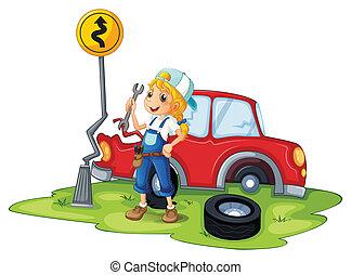 weibliche , reparieren, kaputte , mechaniker, auto, rotes