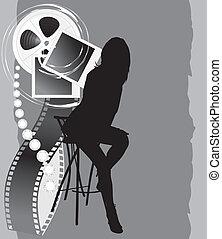 weibliche , silhouette, film, gegenstände