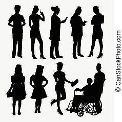weibliche , silhouetten, krankenschwester