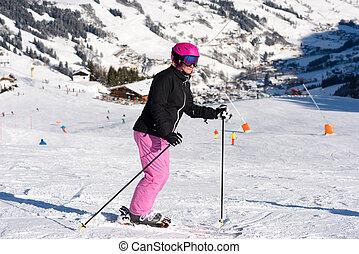 weibliche , skier, in, fahren schi bereich