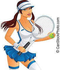 weibliche , spieler, tennis