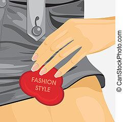 weibliche , style., watte, mode, kurze hosen
