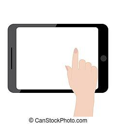weibliche , tablette, screen., edv, halten hände, berühren