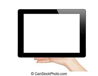 weibliche , tablette, zubehörteil, freigestellt, hand, edv, hintergrund, besitz, berühren, weißes