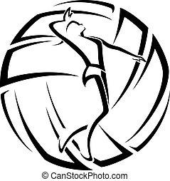 weibliche , volleyball, akzent