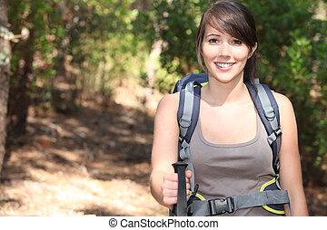 weibliche , wanderer, mit, rucksack