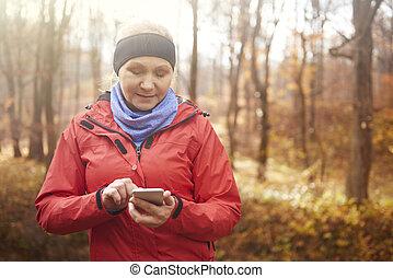 weibliche , zelle, läufer, telefon