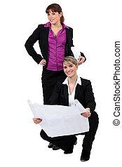 weibliche , zwei, architekten