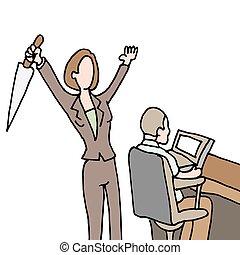 weiblicher angestellter, backstabbing, mitarbeiter