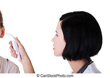 weiblicher doktor, überprüfung von temperatur, von, sie, patient
