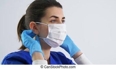 weiblicher doktor, gesicht, medizin, oder, krankenschwester...