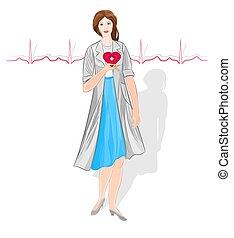 weiblicher doktor, kardiologie
