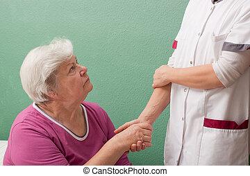weiblicher doktor, marken, ein, überprüfung