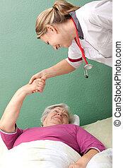 weiblicher doktor, marken, unterbringen ruf