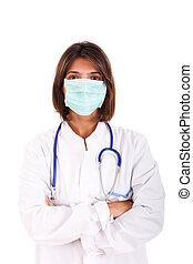 weiblicher doktor, mit, a, maske