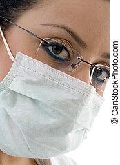 weiblicher doktor, mit, maske