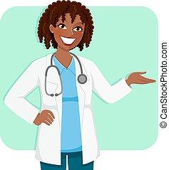 weiblicher doktor, schwarz