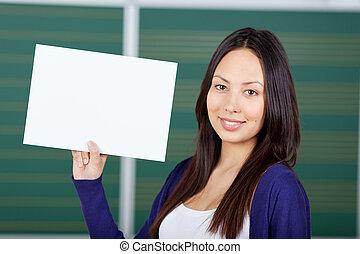 weiblicher student, zeigen, weißes, papier