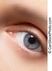 weibliches auge, mit, langer, augenwimpern, close-up., blaues auge