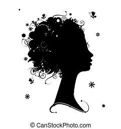 weibliches profil, silhouette, blumen-, frisur, für, dein, design