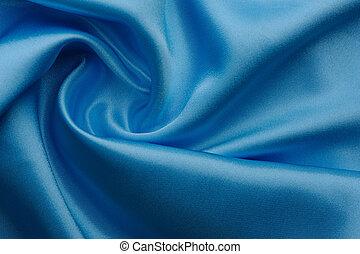 weich, falten, licht, blaue seide, texture., ganz, hintergrund.