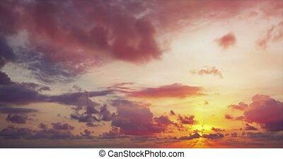 weich, gegen, sonne, aufgedunsen, himmelsgewölbe, wolkenhimmel,  descends, langsam, Horizont
