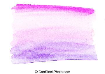 weich, rosa, aquarell, stain., hand, gemalt, fleck, auf, a, weißes, hintergrund., aquarell, beschaffenheit, mit, bürste, strokes.