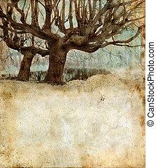 weide, bäume, auf, a, grunge, hintergrund