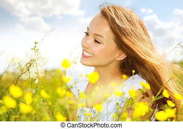 weide, beauty, groene, meisje, gras, het liggen