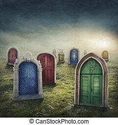 weide, deuren, gesloten
