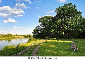 weide, fiets, bos, banken, steegjes, rivier