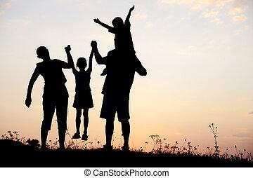 weide, groep, silhouette, ondergaande zon , summertime, spelende kinderen, vrolijke